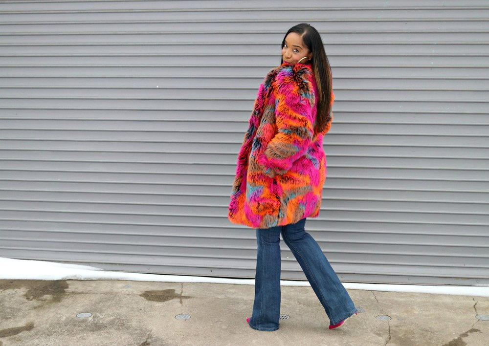 Vibrant Faux Fur and Flared Denim