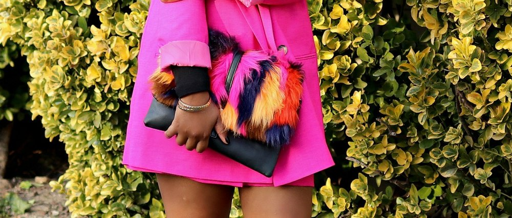 Colored Faux Fur Clutch