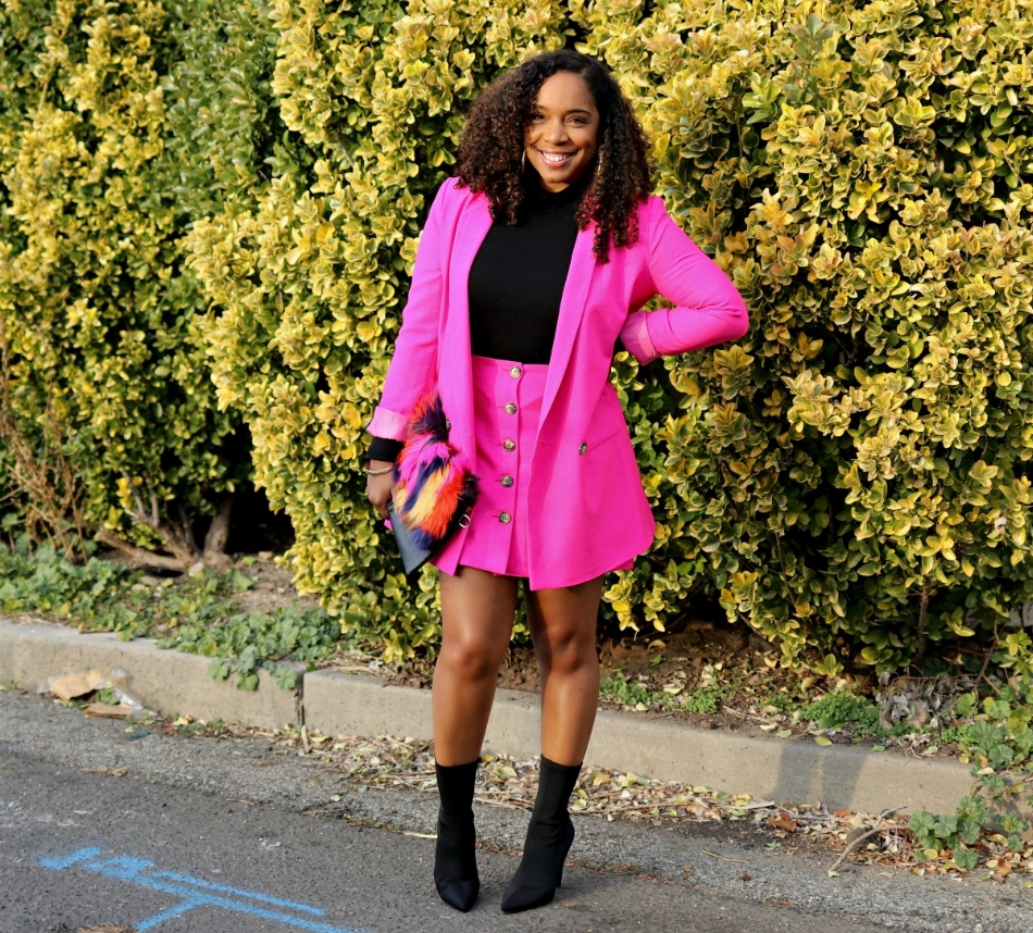 Pink Suit with Sock Booties and Multi Color Fur Purse