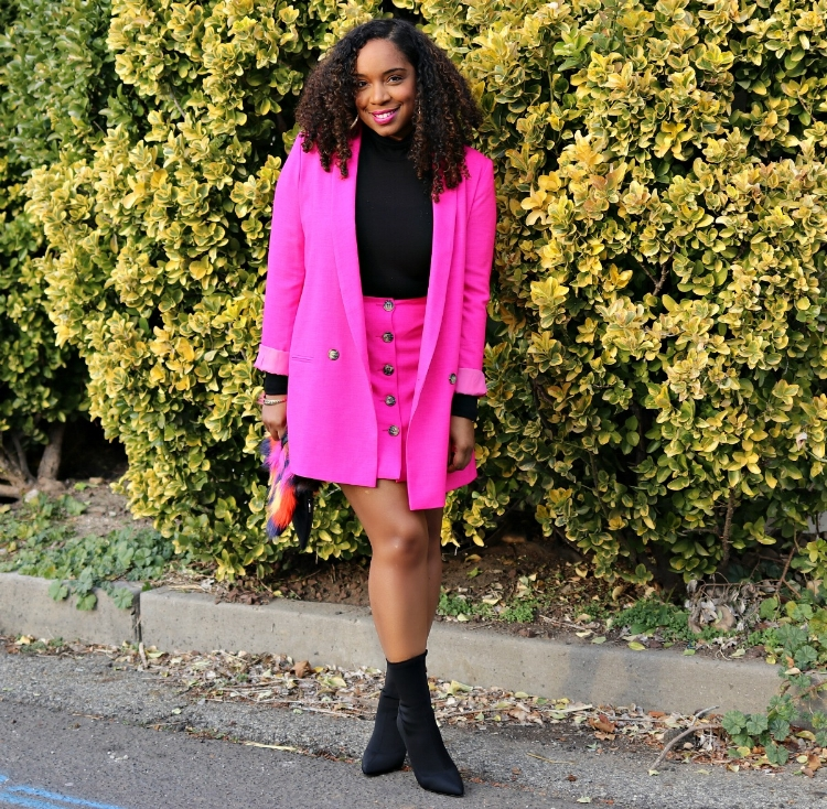 Pink Suit and Black Booties