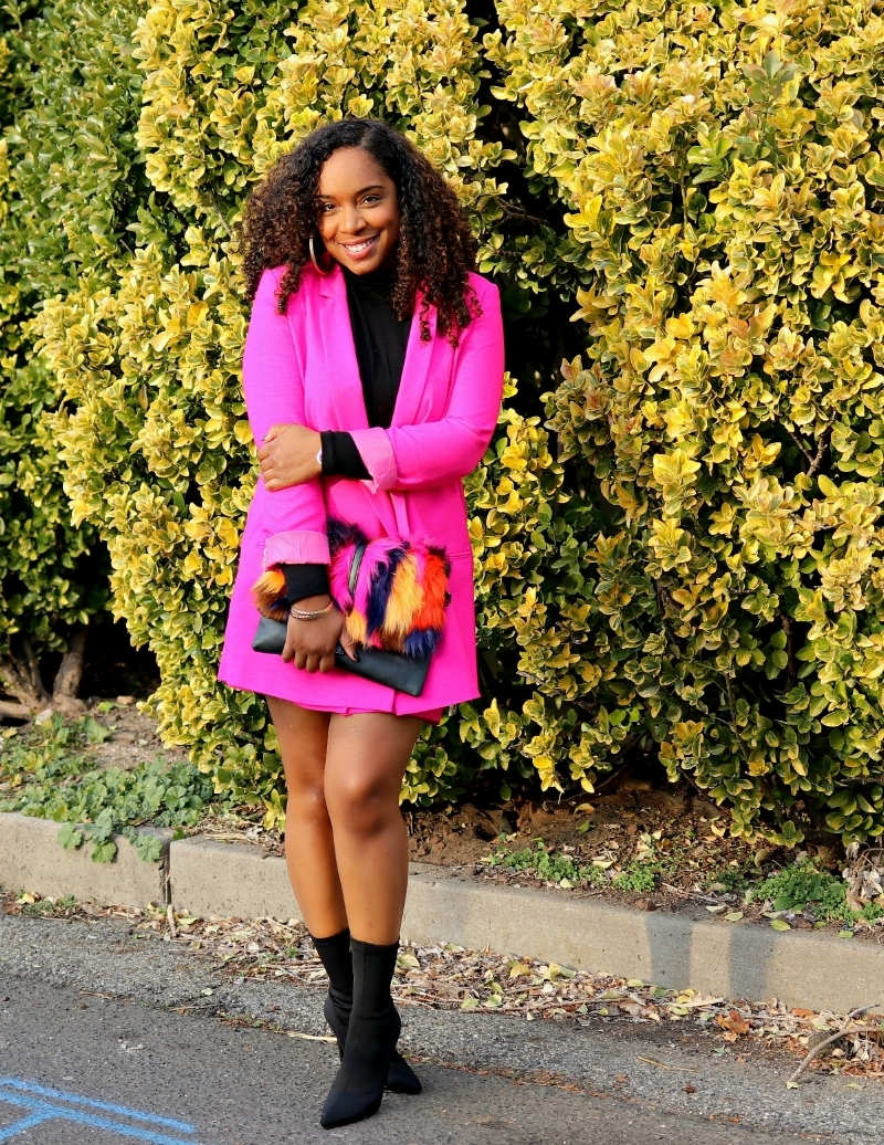 Pink Suit and Colored Faux Fur Purse