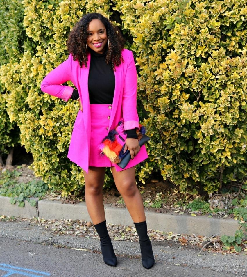 Pink Suit, Sleek Turtleneck, Sock Booties