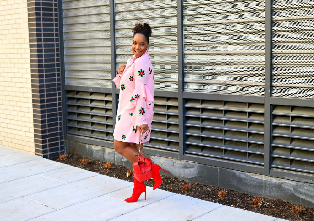 Pink Floral Dress with red boots
