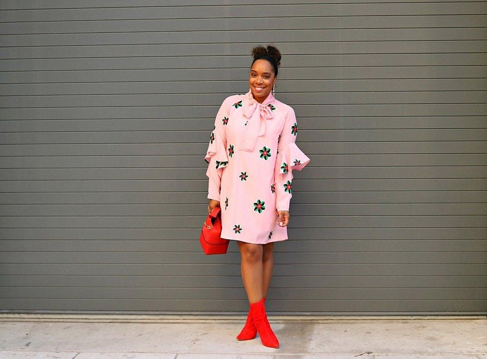 Floral Pink Smock Dress