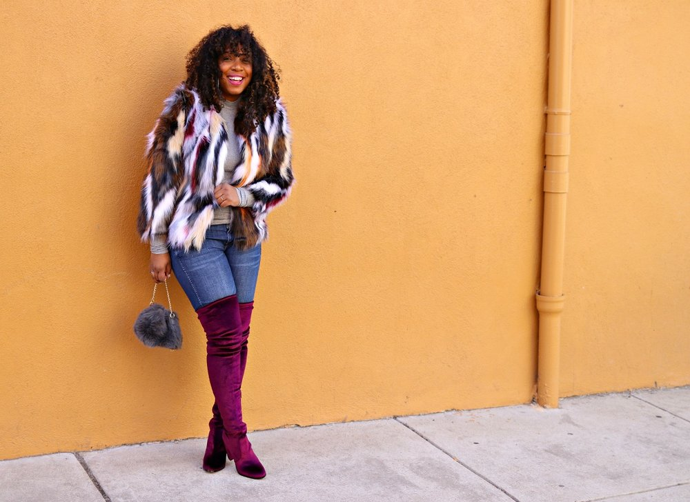 Multi Colored Faux Fur, OTK Boots