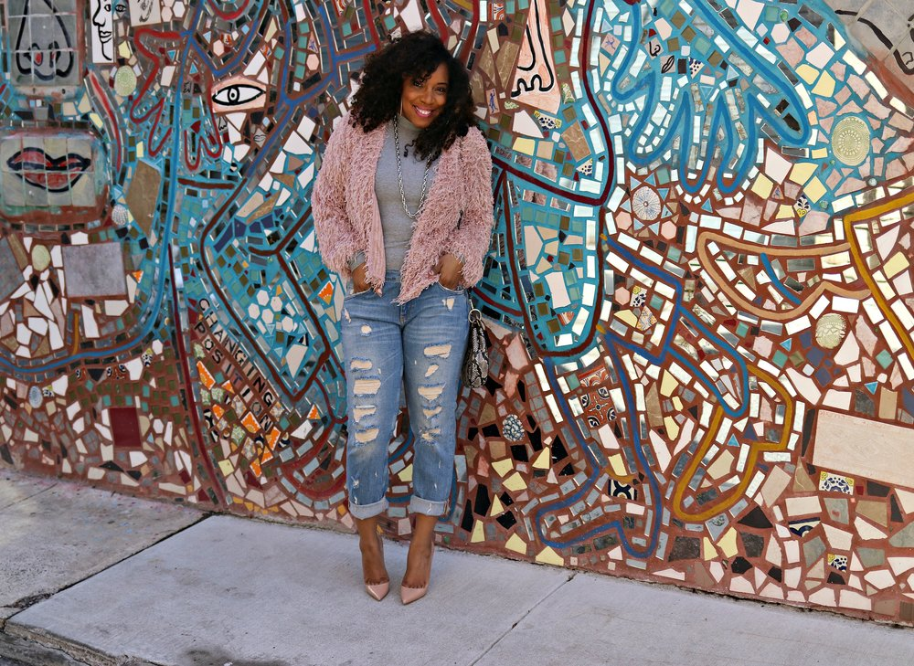 Pink Shag Jacket with BF Jeans