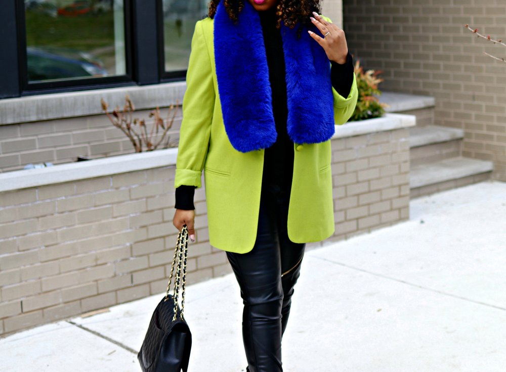 Green Blazer, Blue Fauz Fur Scarf, Chanel Purse