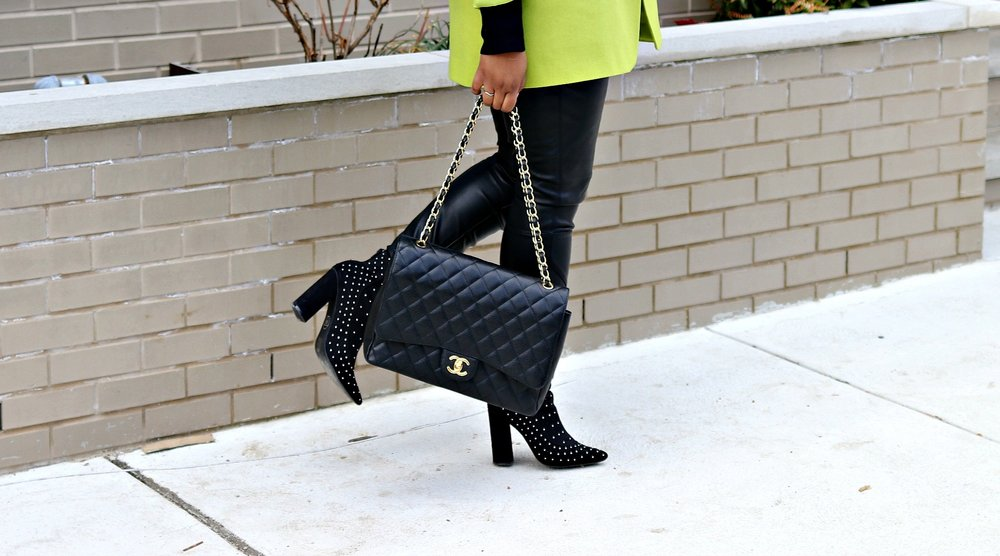 Studded Booties, Chanel Maxi Purse, Details, Accessories