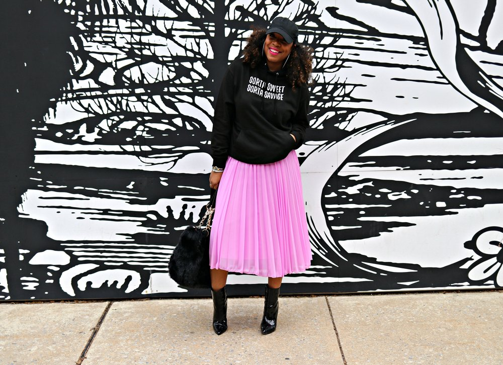 Pink midi pleated skirt, slogan hoodie, patent booties