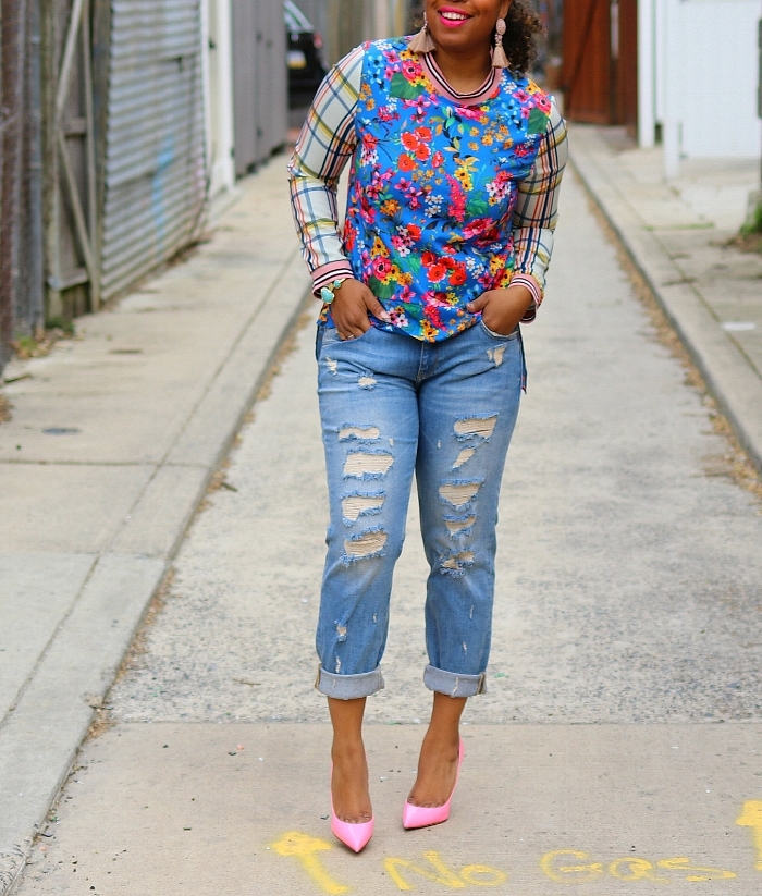 Floral Top, BF Jeans