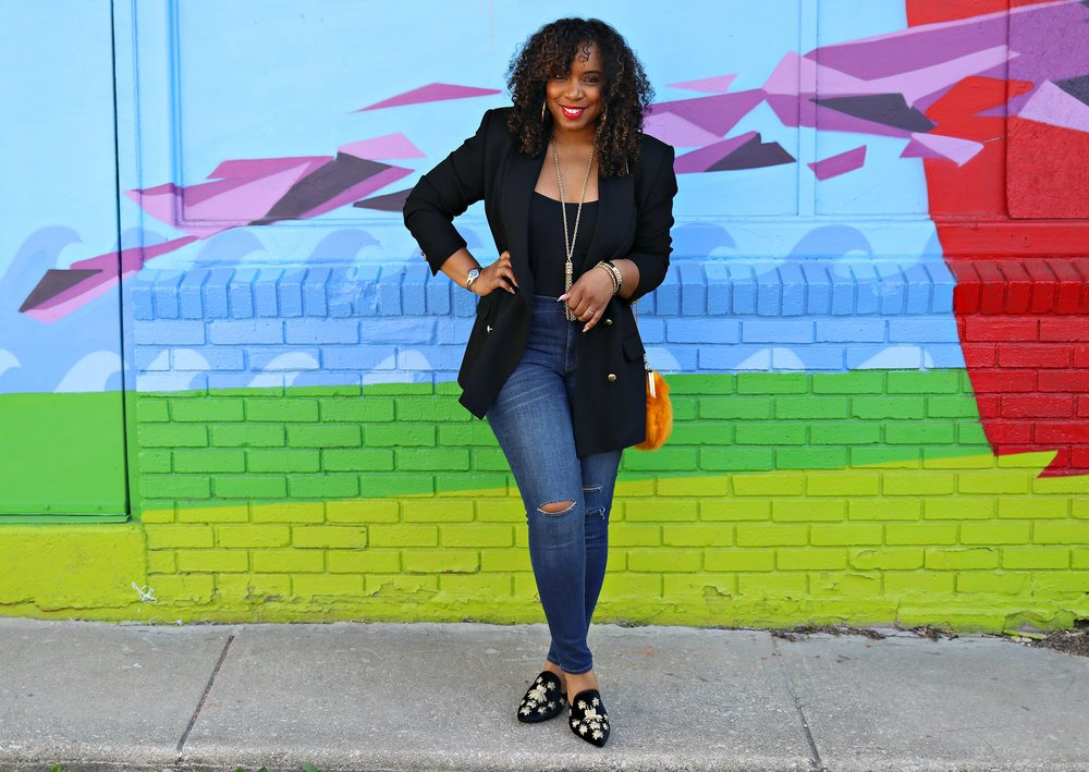 Classic Black Blazer with Gold buttons, distressed denim, embroidered mules