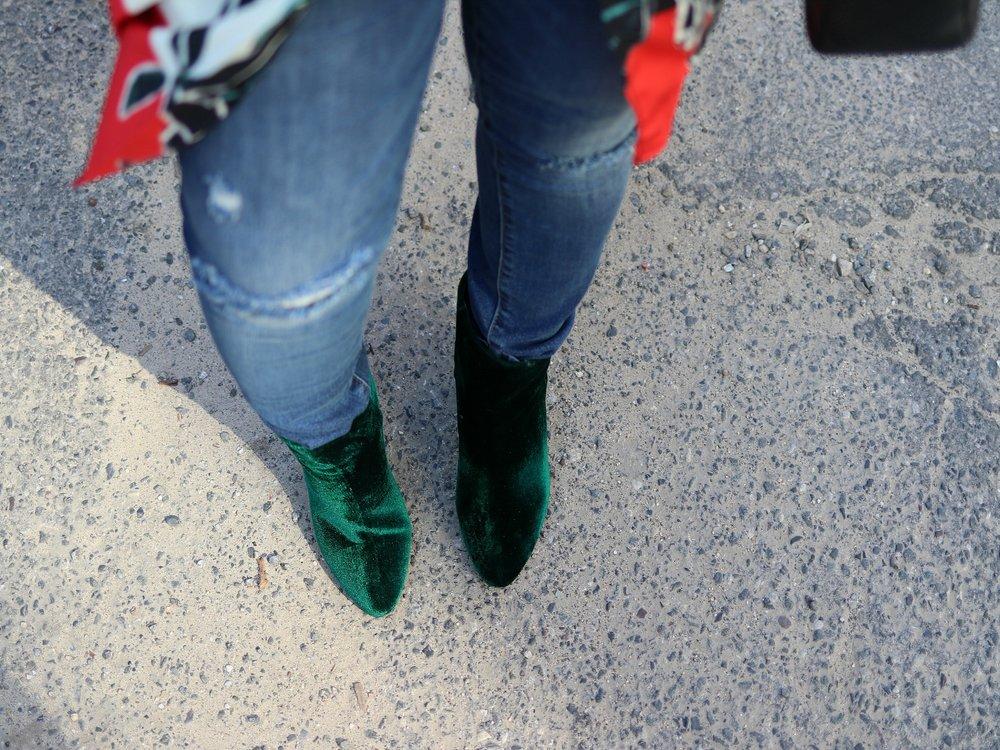 Jewel Toned Velvet Booties