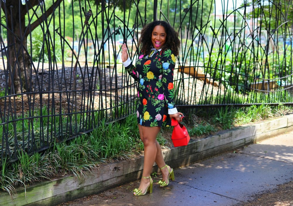 Spring Fashion, Floral Dress with Bow Heels