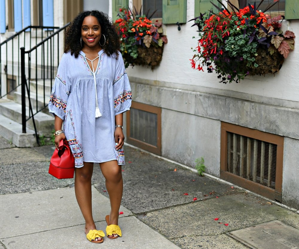 Summer Embroidered Dress with yellow bow flats