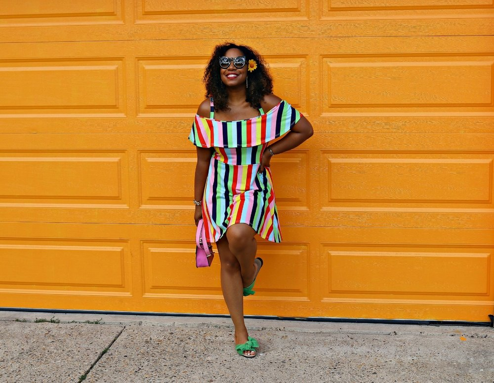 Colorful Asos Dress with Bow Slides