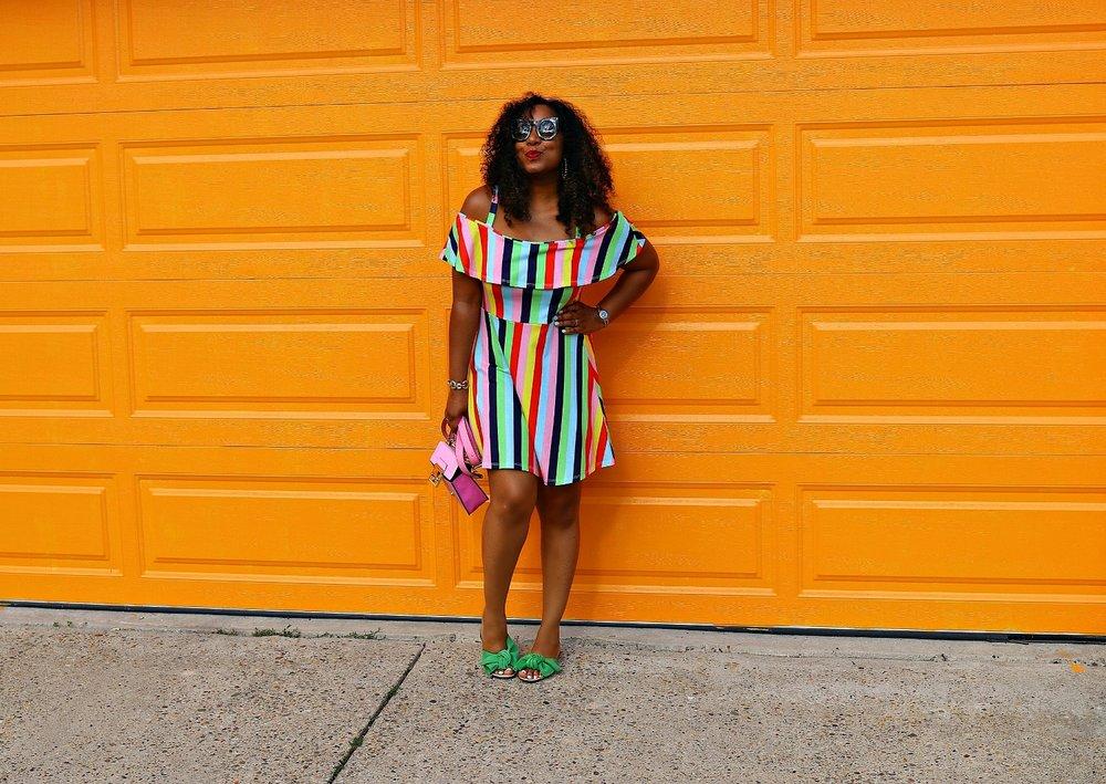 Green Zara Bow Slides, Striped Asos Dress