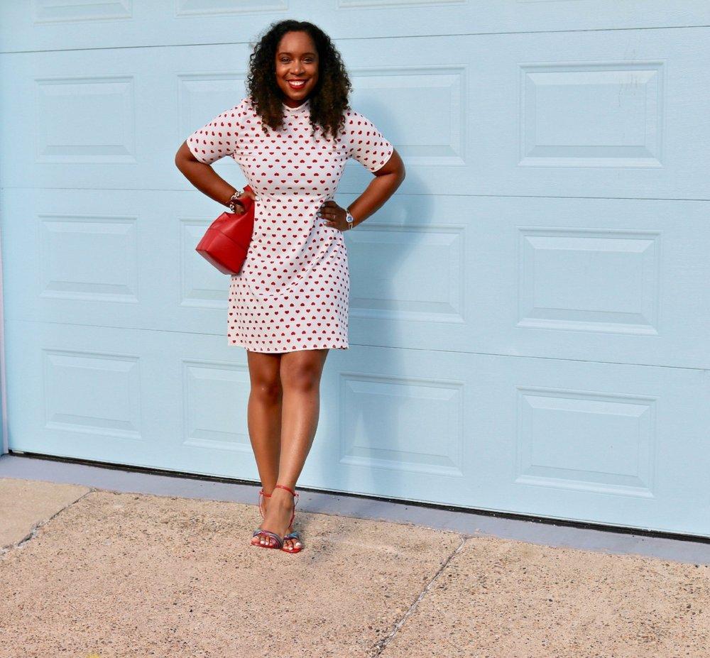 Polka Dot Hearts Shift Dress, Asos, Zara Sandals