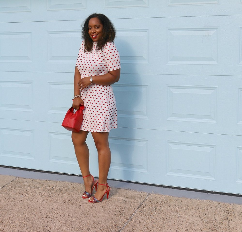 Red Heart Dress, Feminine Dress, Girlie Chic