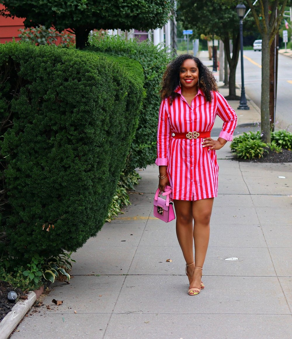 Striped Dress, Shirt Dress, Pink and Red Dress, Nude Sandals