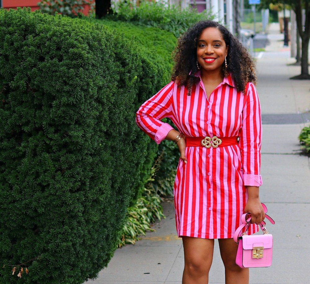 Curly Hair, Shirt Dress, Pink Purse and Nude Sandals