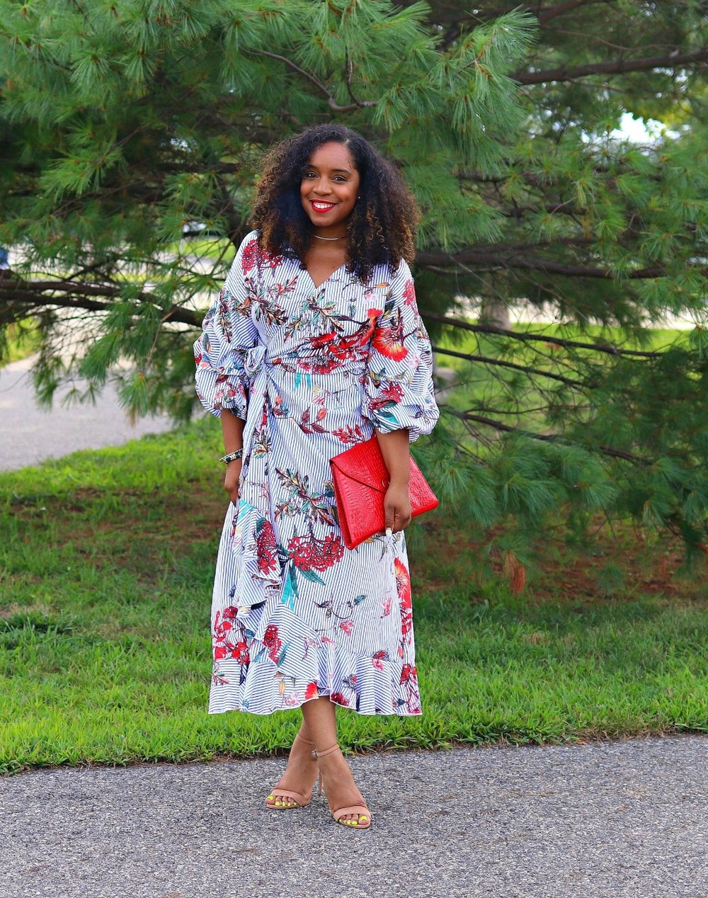 Floral and Striped Midi Dress