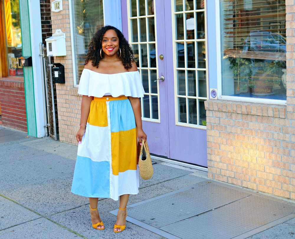 Off the Shoulder Top, Colorblock Midi Skirt, Bow Sandals