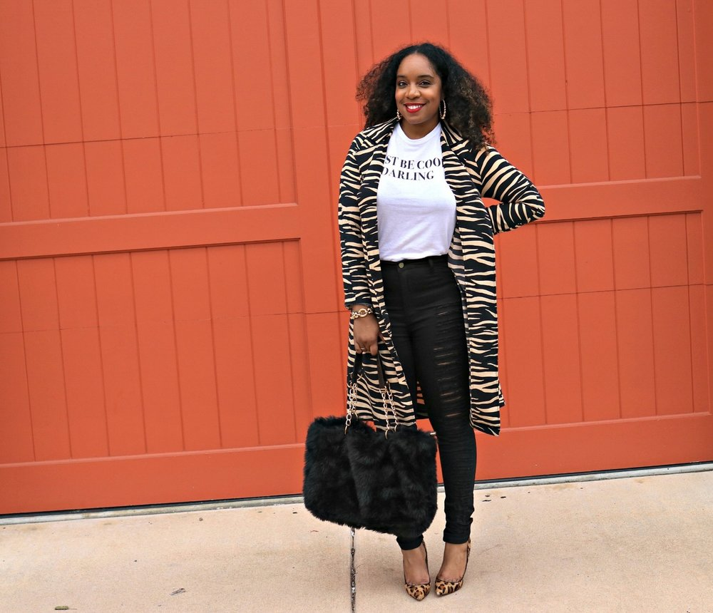 Graphic Tee, Distressed Denim, Animal Trench, Leopard Pump