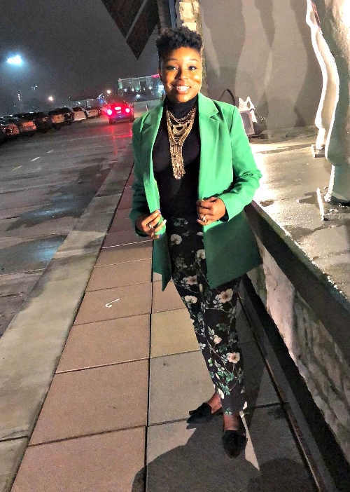 Green Blazer and Floral Pants