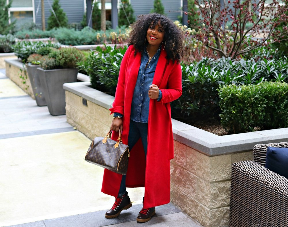 Red Wrap Coat, Hiker Boots, LV Speedy