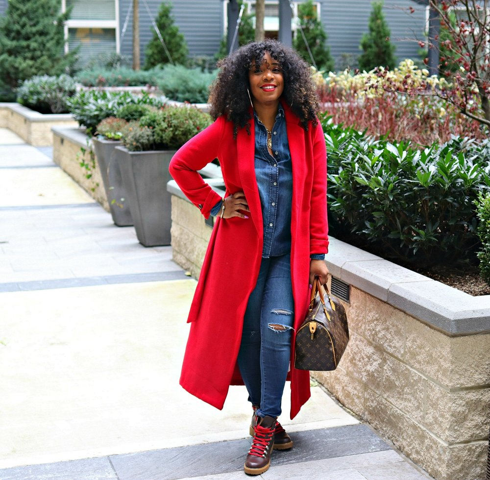 Red wrap coat, hiker boots, fall casual style, street style