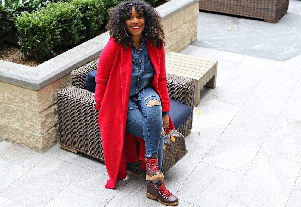 Denim on Denim, Hiker Boots, Red Coat