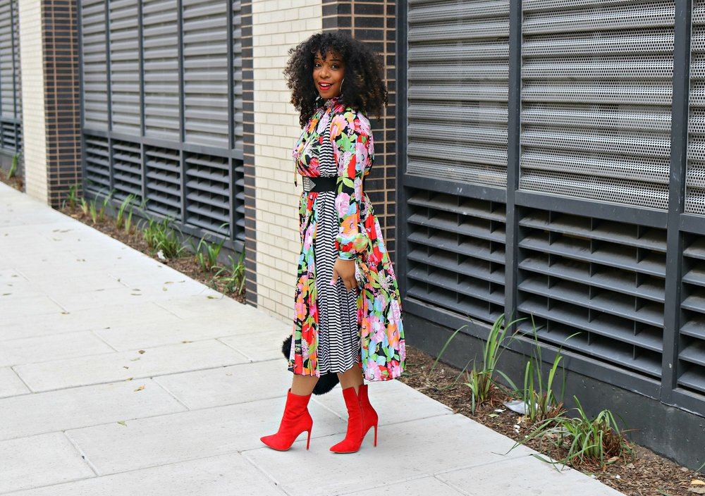 Floral and Stripe Dress, Studded belt, red booties