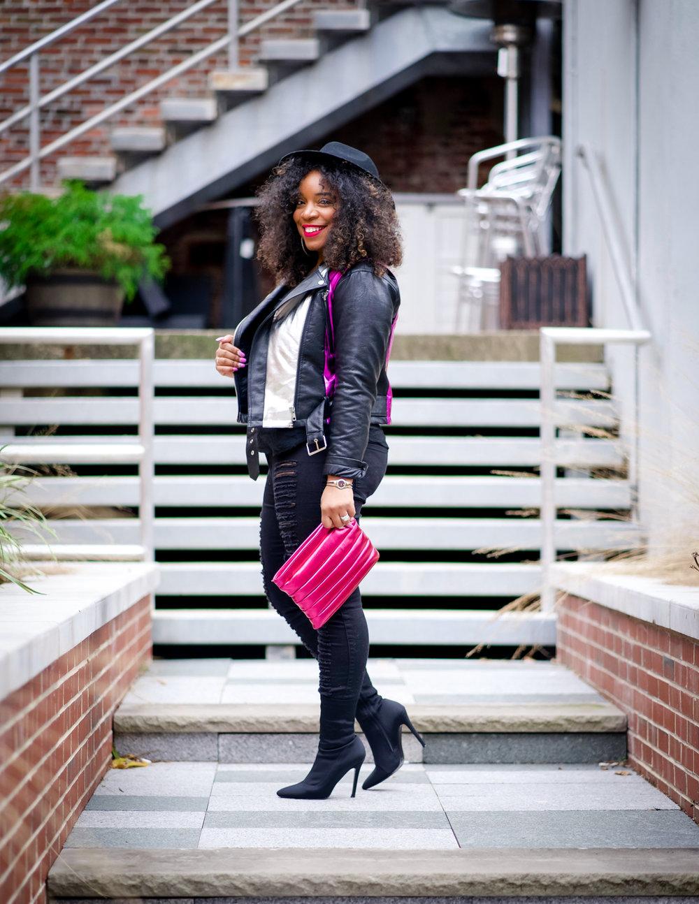Fall Fashion, Colorful Leather Jacket, All Black, Metallic clutch
