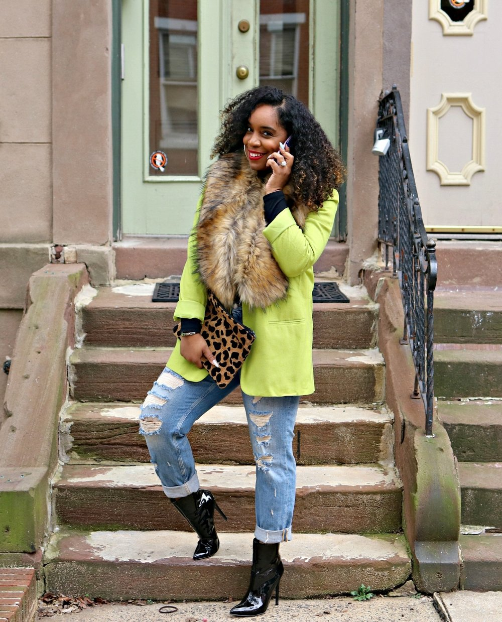 Cricket Wireless, Green Blazer, Patent Booties
