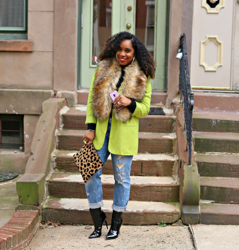 Cricket Wireless, Smile on, Boyfriend Jeans, Faux fur scarf, leopard clutch, patent booties