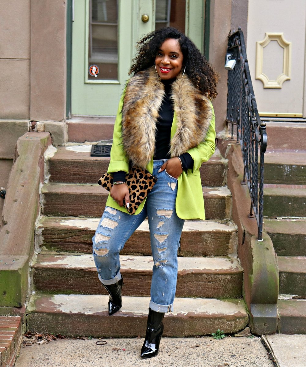 Green Blazer, Leopard Clutch, Faux Fur, Patent Booties, Cricket Wireless