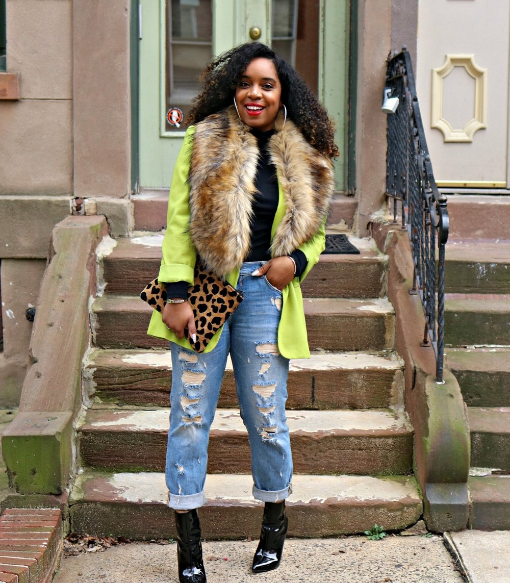 Leopard clutch, distressed boyfriend jeans, green boyfriend blazer, patent booties, faux fur