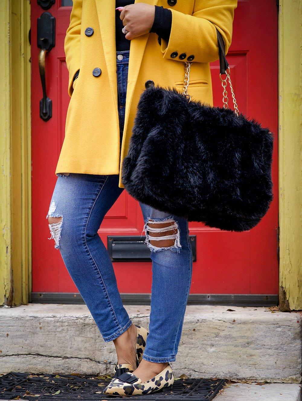 leopard bow flats, fur purse