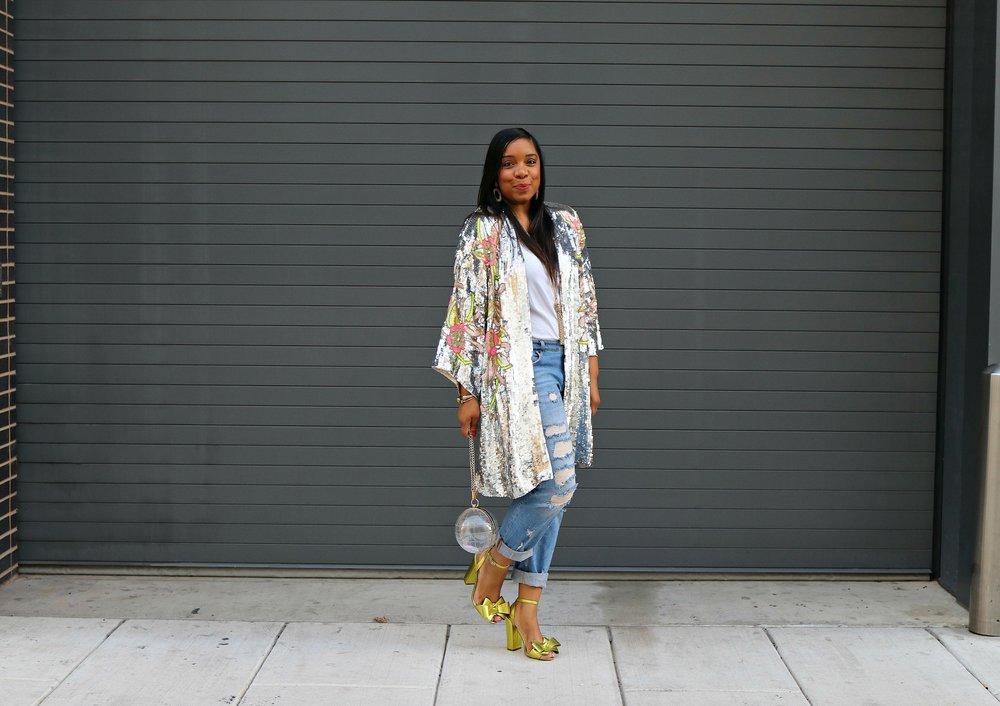Sequin Kimono, Boyfriend Jeans