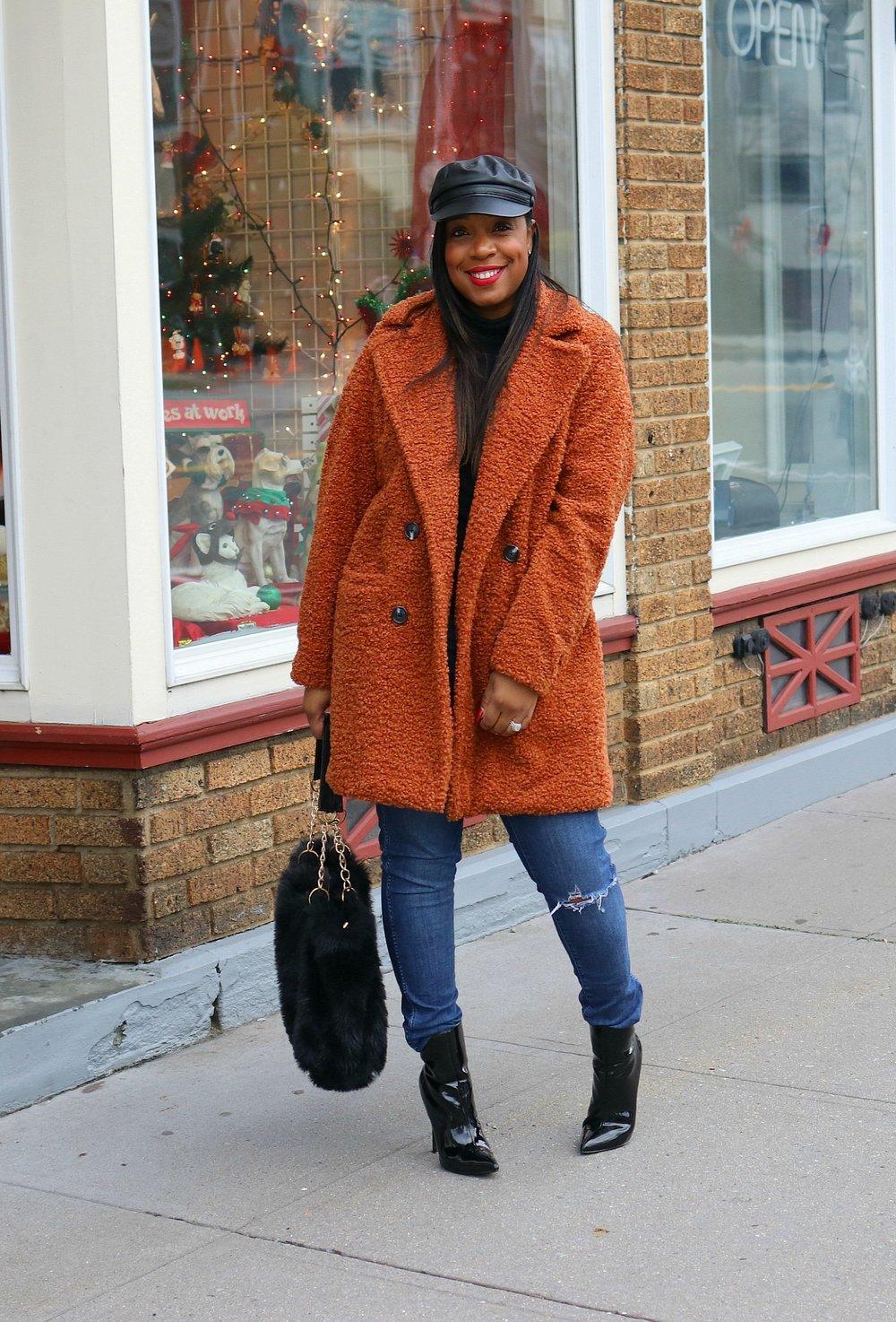 orange teddy coat