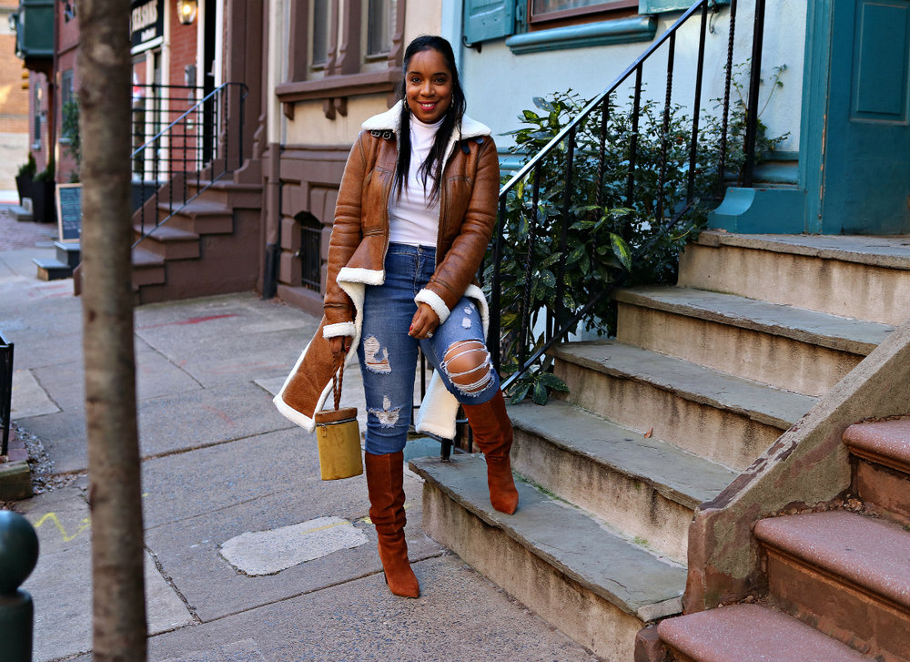 Distressed Denim and Shearling Jacket