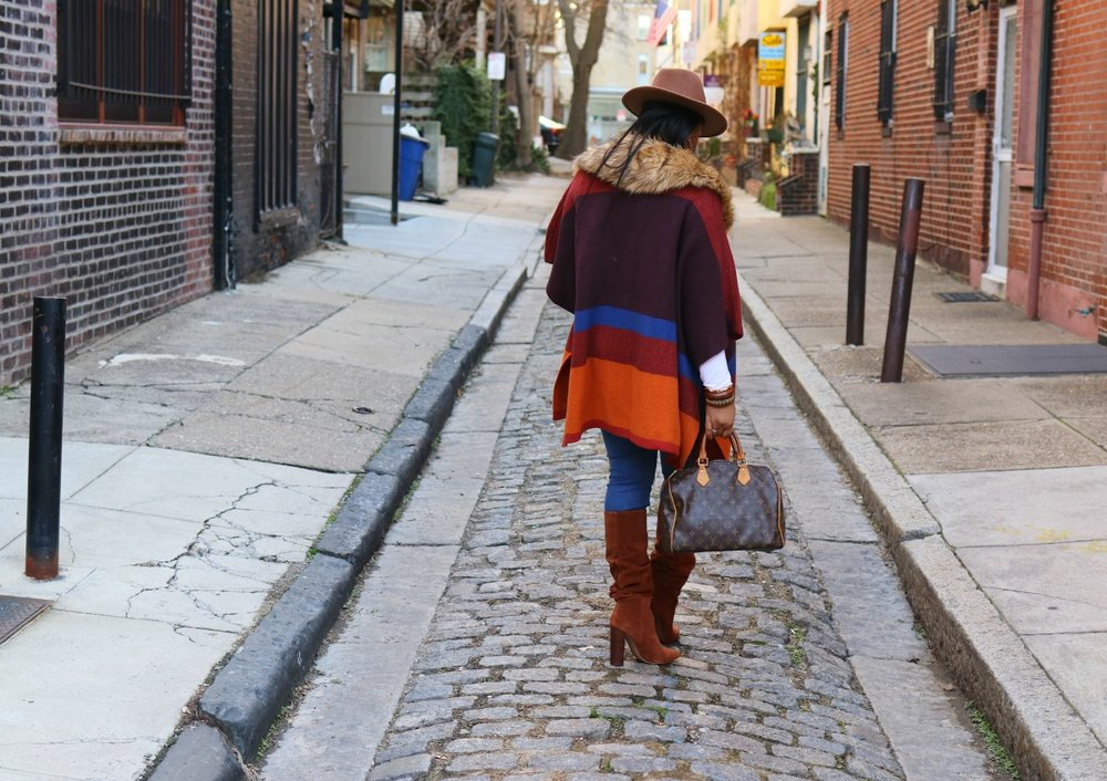 Colorblock Cape, Cinnamon over the knee suede boots