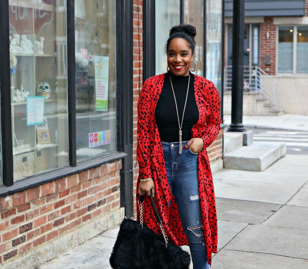Red leopard dress