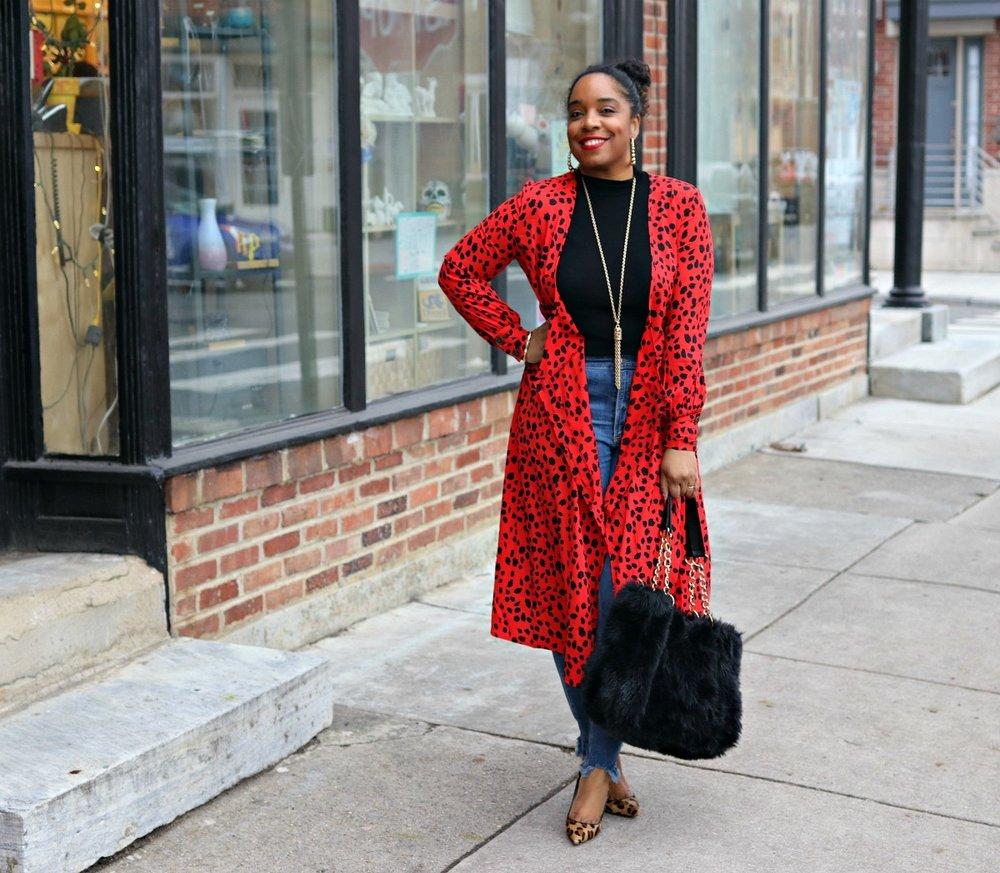 Winter fashion, red dress, leopard, fur tote