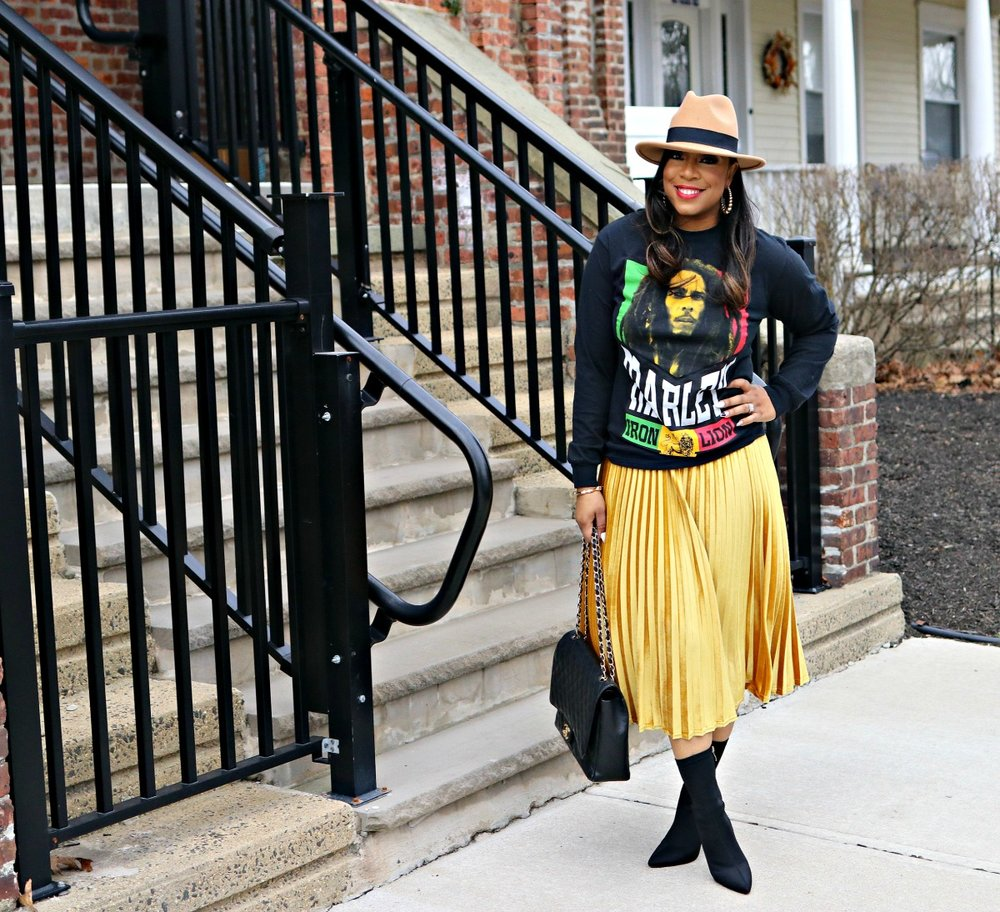 Bob Marley Graphic Tee, Fedora, Pleated Skirt, Chanel Maxi Bag, Sock Booties, Winter Street style, street style, style and poise,
