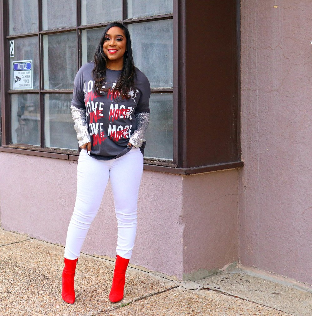 Love Graphic Tee, White Denim, Sequin Sleeves, V-day Inspo, Red booties