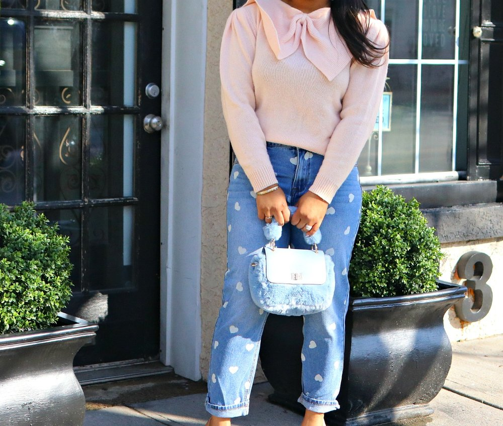 Bow Sweater, Heart Denim, Nude Pumps, Louboutin, Fur Blue Mini Satchel, Thrifted, Valentine's Day Inspo