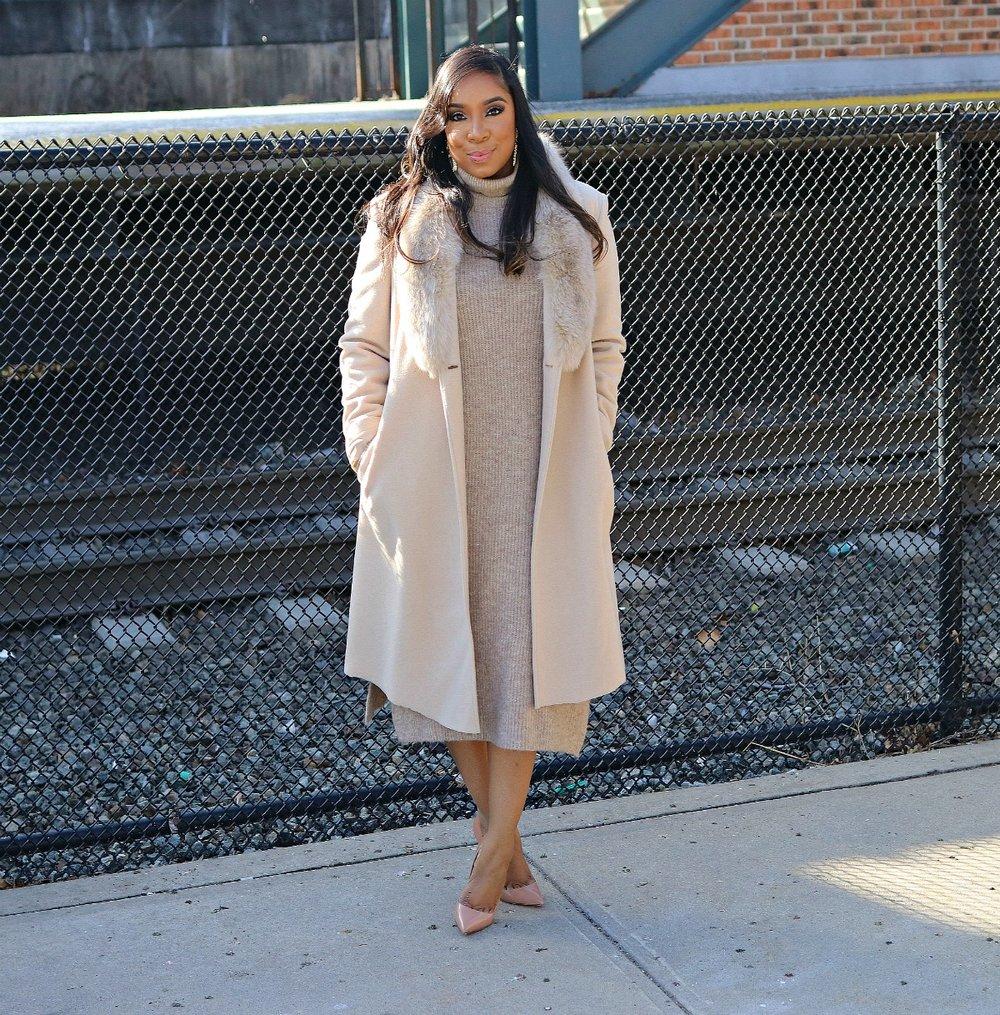 Vintage tan coat, sweater dress, nude pumps, Winter Fashion, Church Style, Church Fashion, Modest Fashion