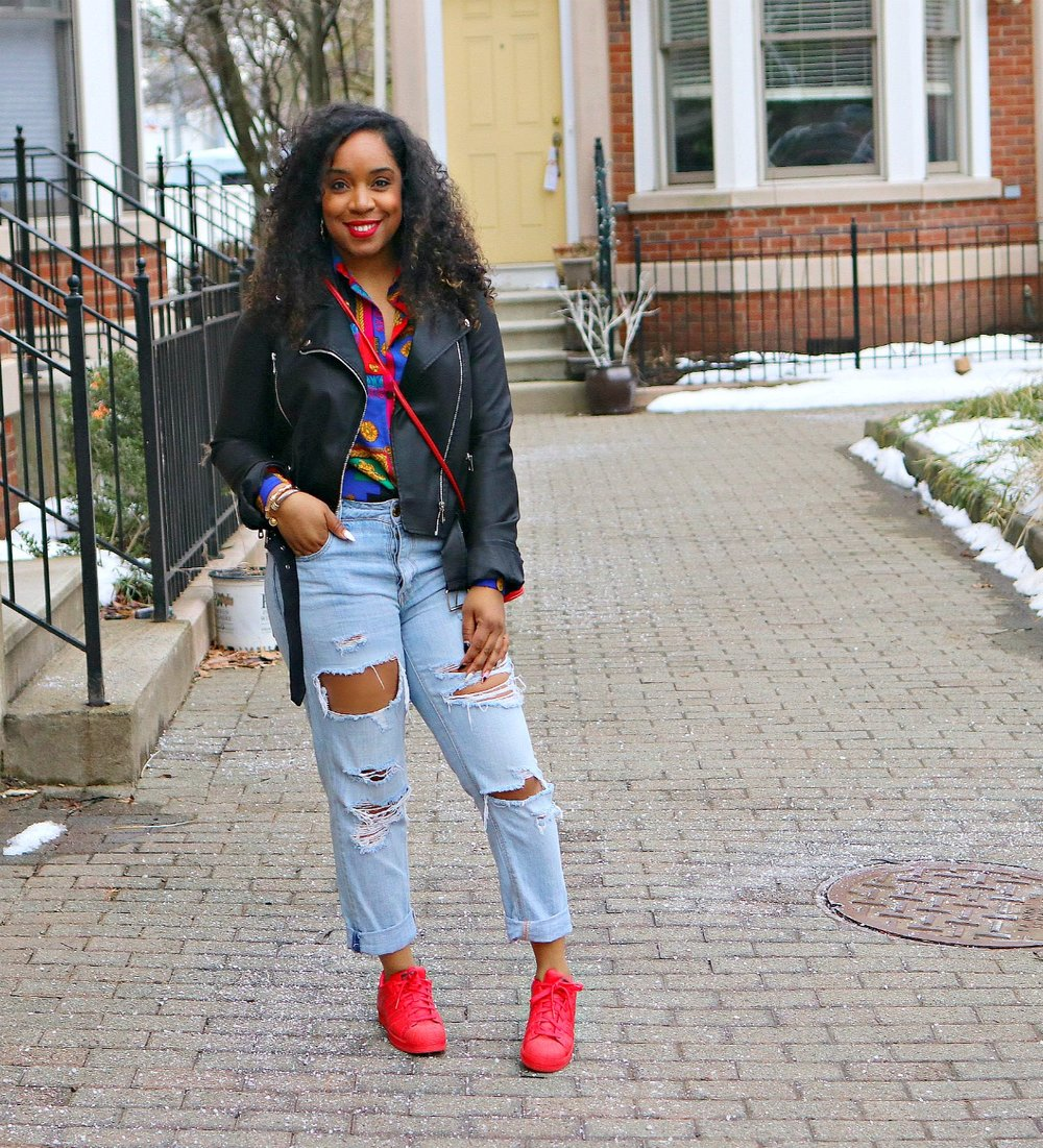 Style & Poise-Vintage Versace Inspired blouse, moto jacket, shell toe adiddas, bamboo earrings, street style