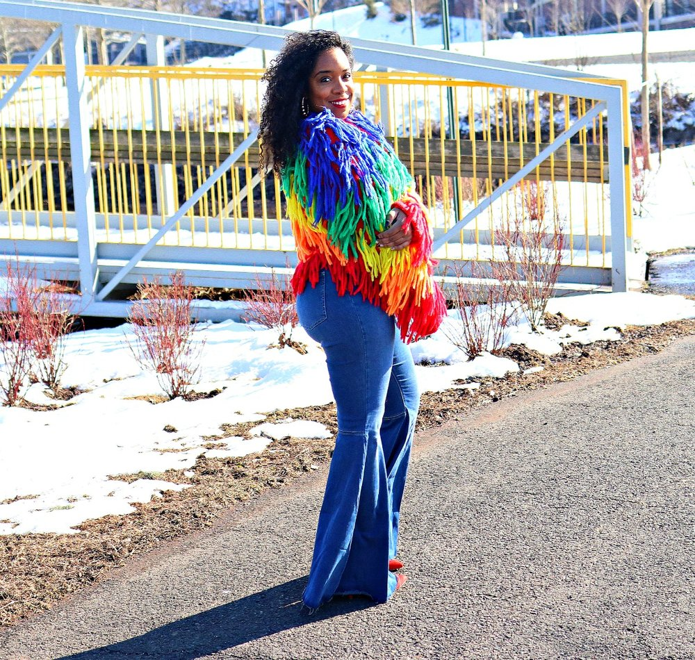Multi Color Shaggy Sweater, Flared denim, wooden clutch, boho chic, 70's vibe